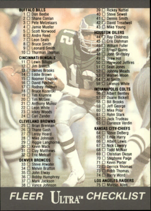 1991 Ultra #299 Checklist Card