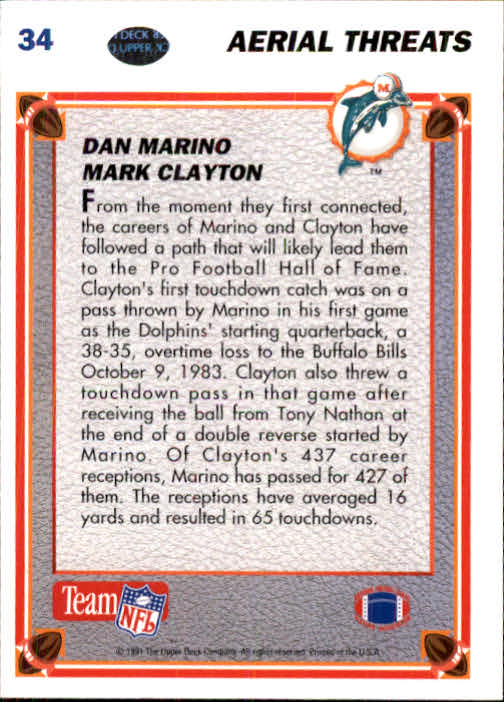1991 Upper Deck #34 Dan Marino AT/Mark Clayton back image