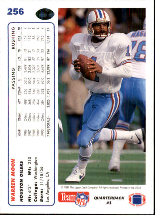 1991 Upper Deck #256 Warren Moon back image