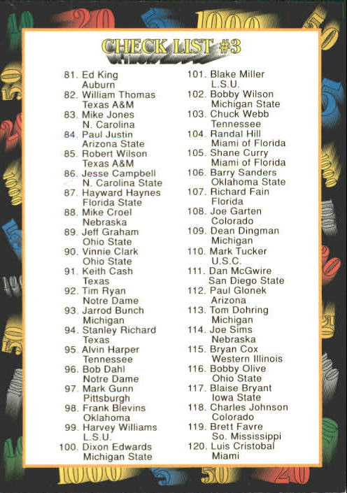 1991 Wild Card Draft #159 Checklist 3