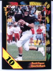 1991 Wild Card Draft 10 Stripe #119 Brett Favre