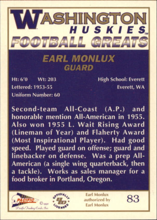 1992 Washington Greats Pacific #83 Earl Monlux