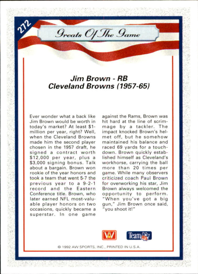 1992 All World #272 Jim Brown GG back image