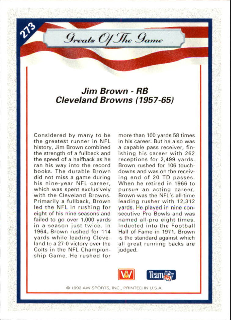 1992 All World #273 Jim Brown GG back image