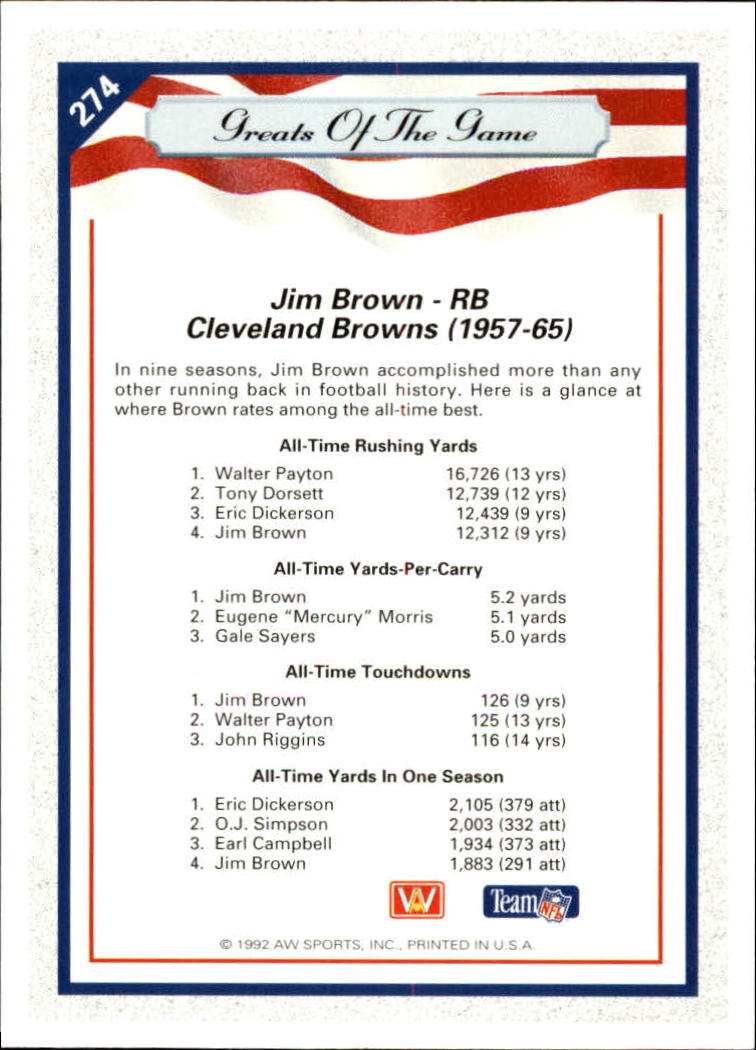 1992 All World #274 Jim Brown GG back image