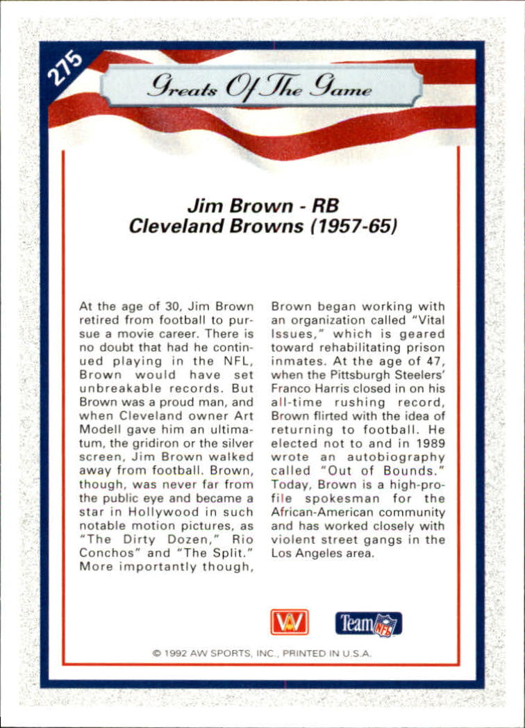 1992 All World #275 Jim Brown GG back image