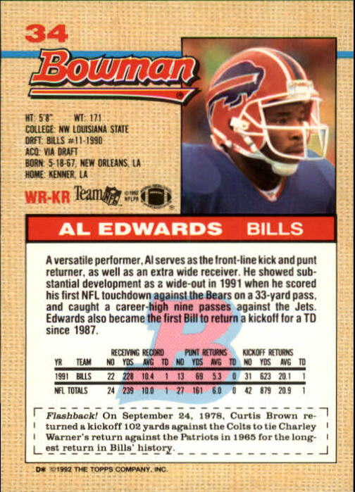1992 Bowman #34 Al Edwards