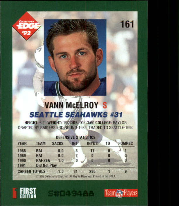 1992 Collector's Edge #161 Vann McElroy