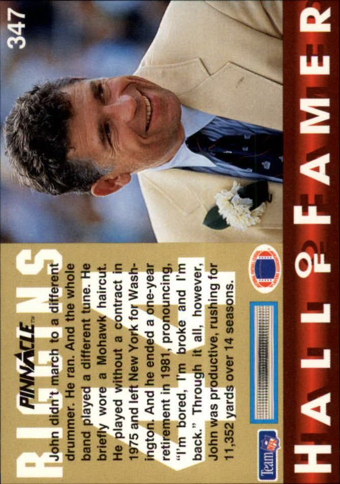 1992 Pinnacle #347 John Riggins HOF back image