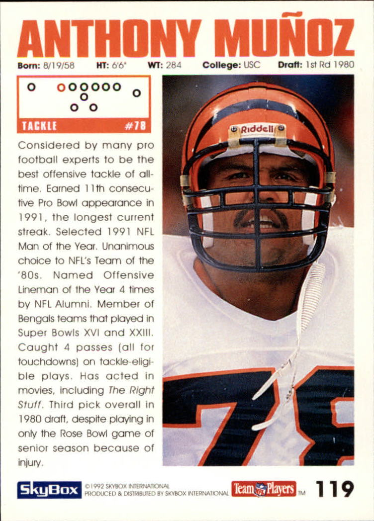 1992 SkyBox Impact #119 Anthony Munoz back image