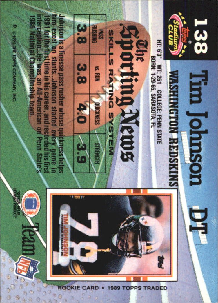 1992 Stadium Club #138 Tim Johnson back image