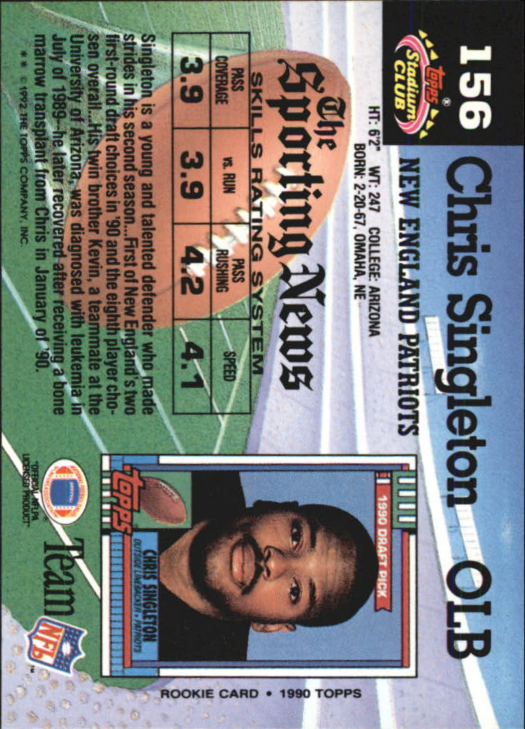 1992 Stadium Club #156 Chris Singleton back image