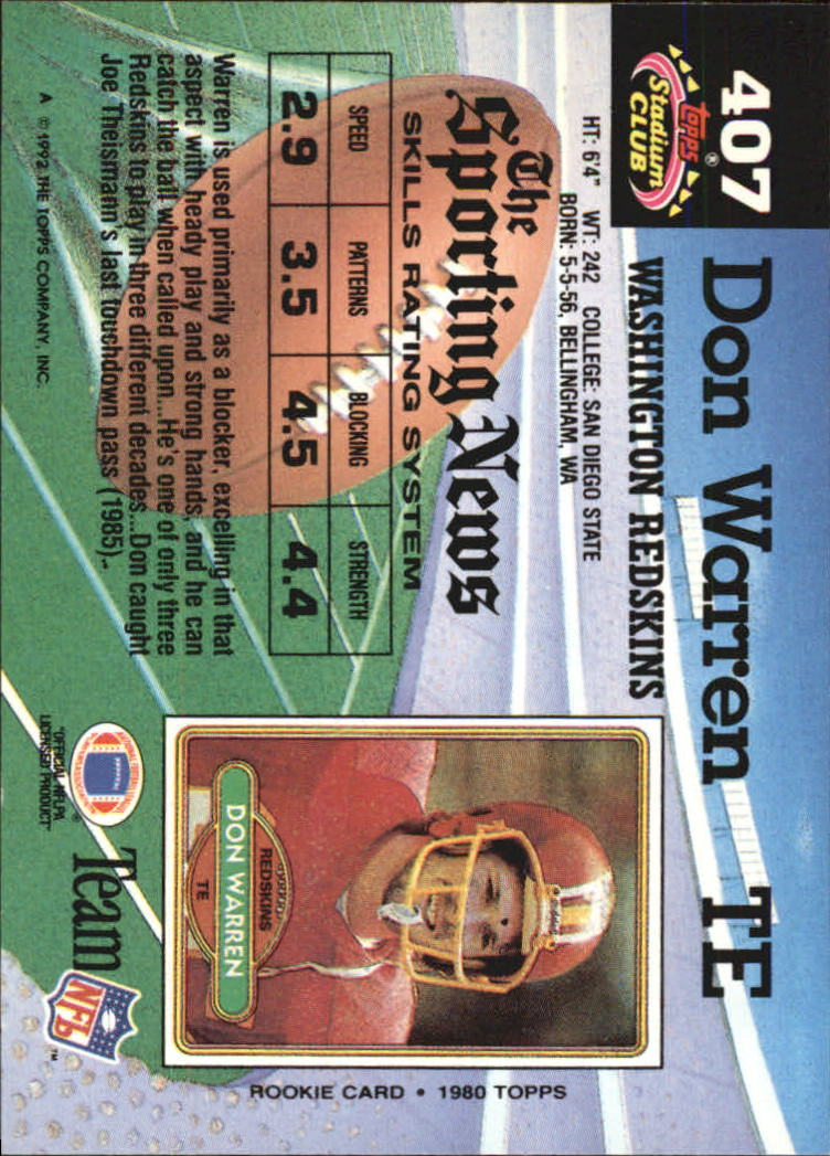 1992 Stadium Club #407 Don Warren back image