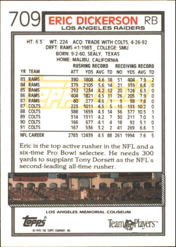 1992 Topps Gold #709 Eric Dickerson back image