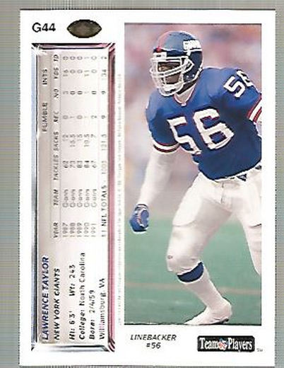1992 Upper Deck Gold #G44 Lawrence Taylor back image