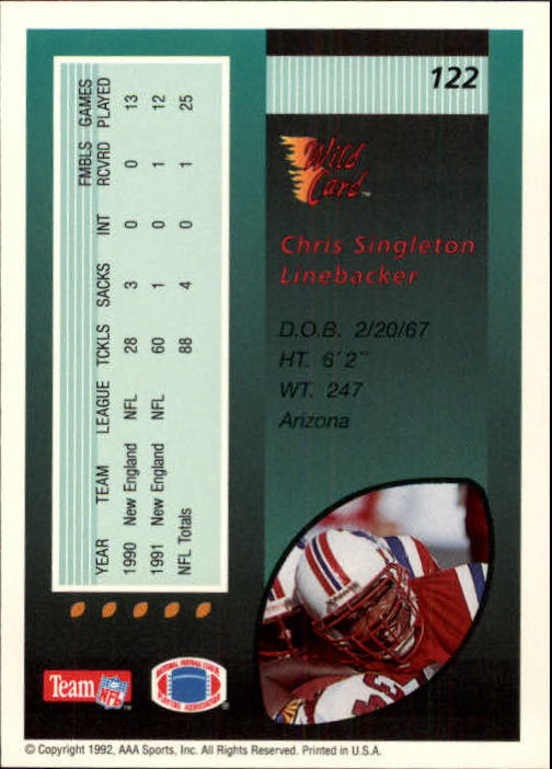 1992 Wild Card #122 Chris Singleton back image