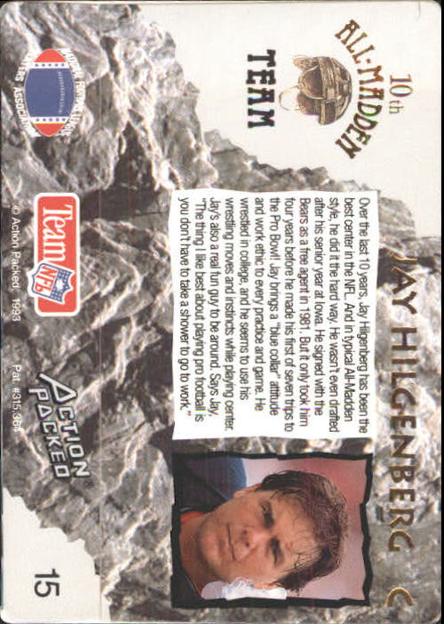 1993 Action Packed All-Madden #15 Jay Hilgenberg back image