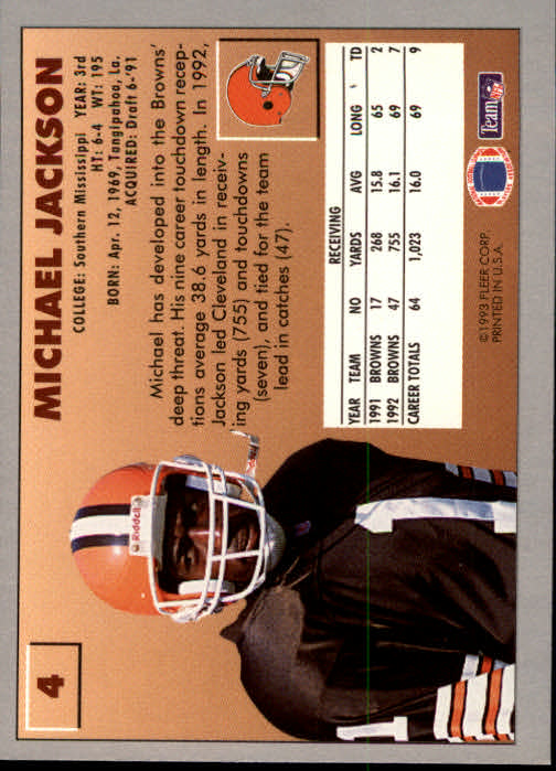 1993 Fleer #4 Michael Jackson back image
