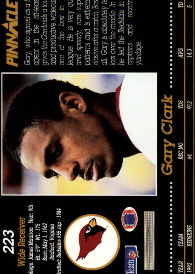 1993 Pinnacle #223 Gary Clark back image