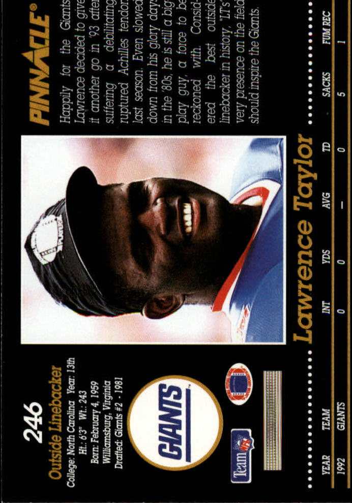 1993 Pinnacle #246 Lawrence Taylor back image