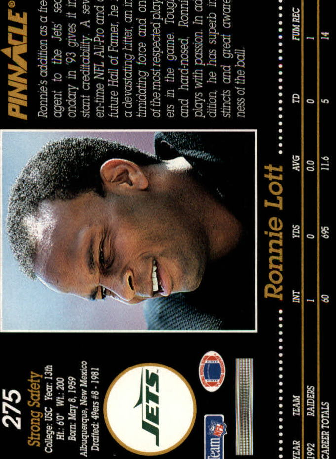 1993 Pinnacle #275 Ronnie Lott back image