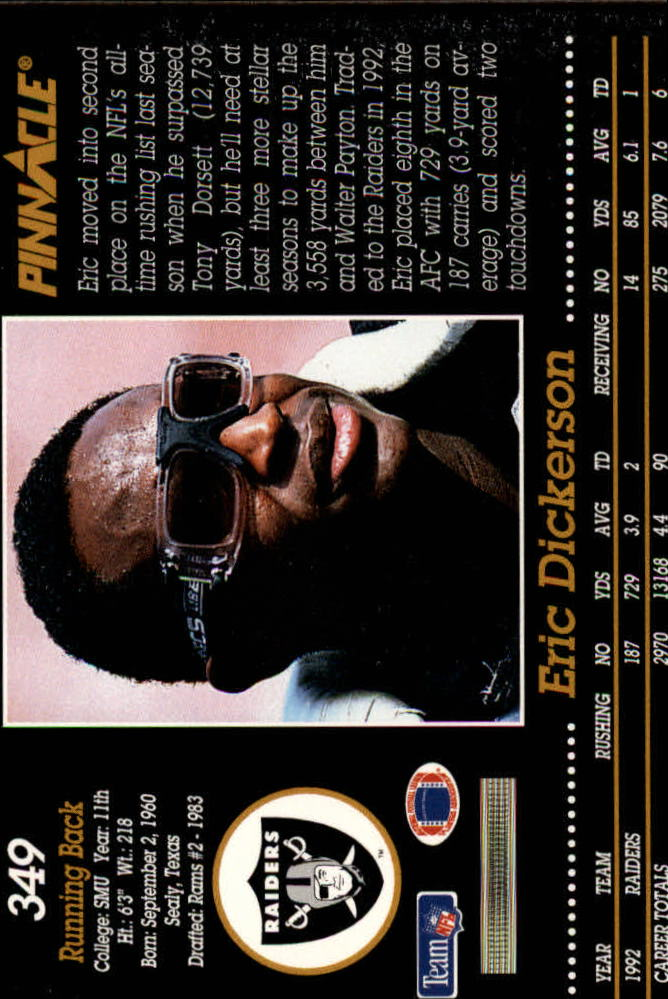 1993 Pinnacle #349 Eric Dickerson back image