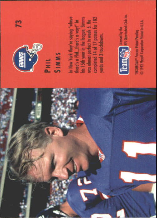 1993 Playoff Contenders #73 Phil Simms back image