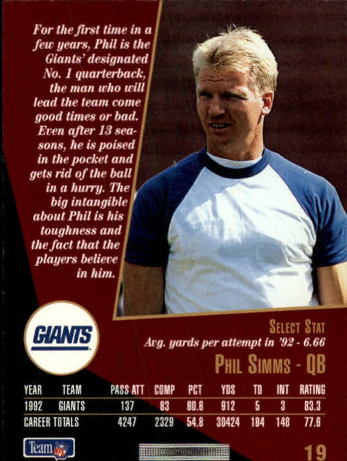 1993 Select #19 Phil Simms back image