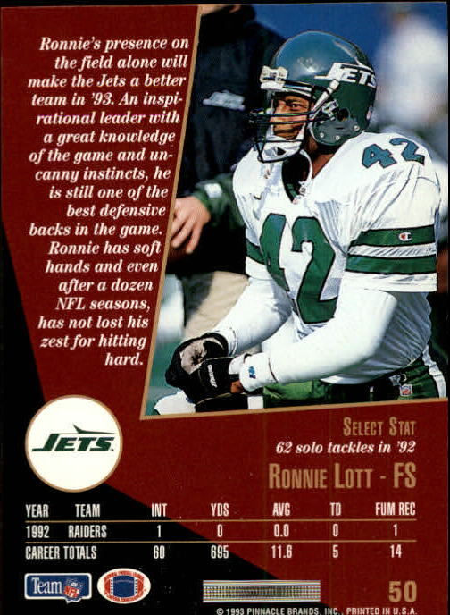 1993 Select #50 Ronnie Lott back image