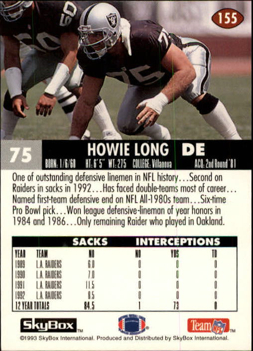 1993 SkyBox Impact #155 Howie Long back image