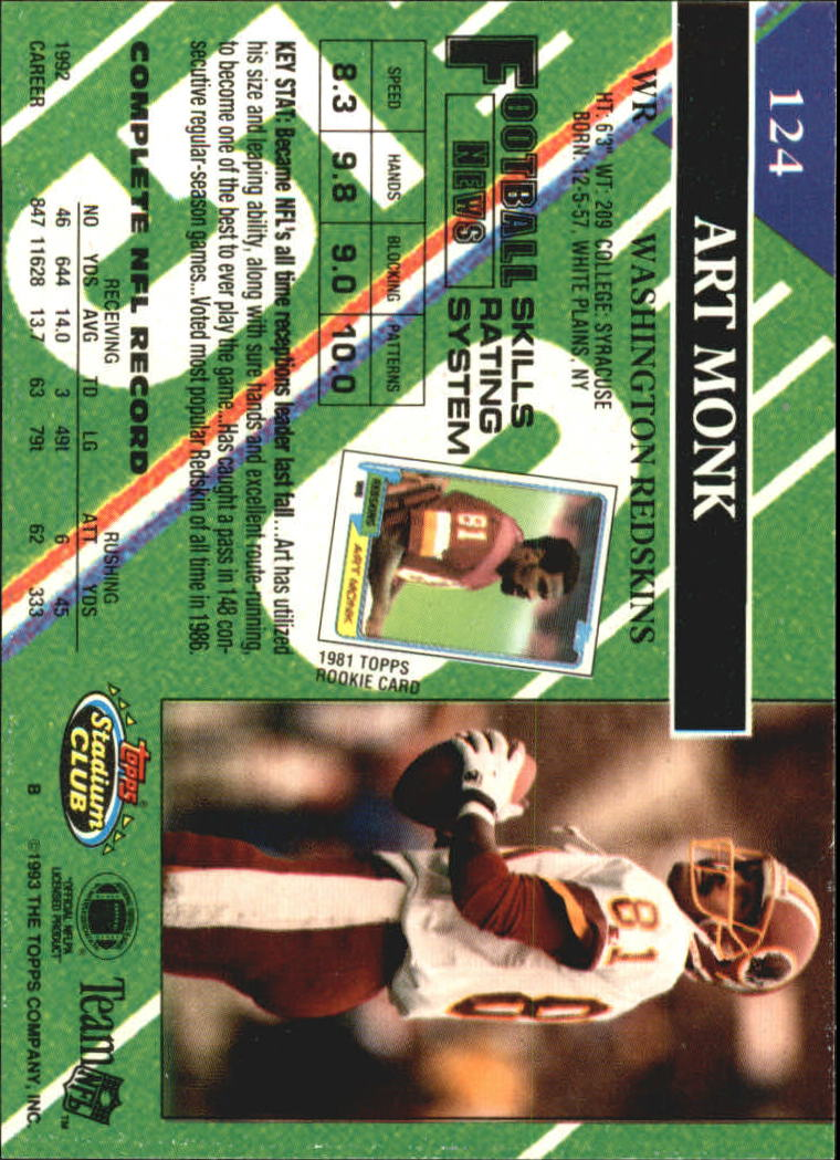 1993 Stadium Club #124 Art Monk back image