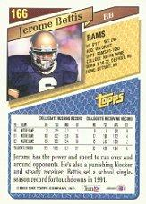 1993 Topps #166 Jerome Bettis RC back image