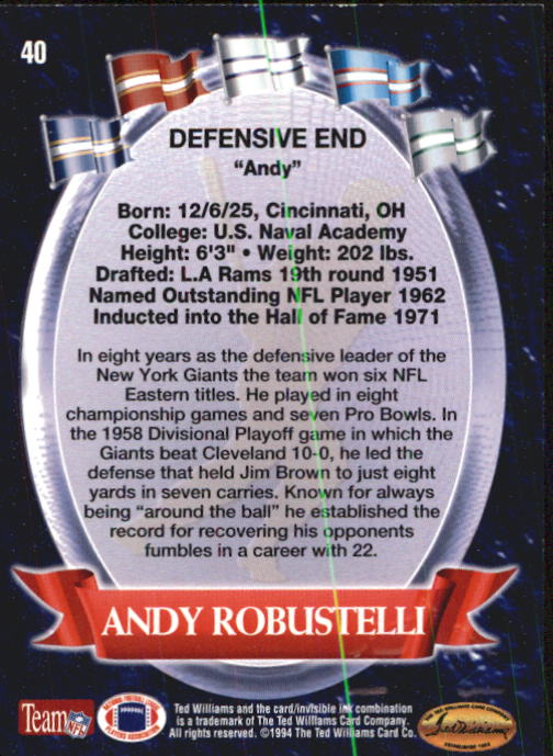 1994 Ted Williams #40 Andy Robustelli back image