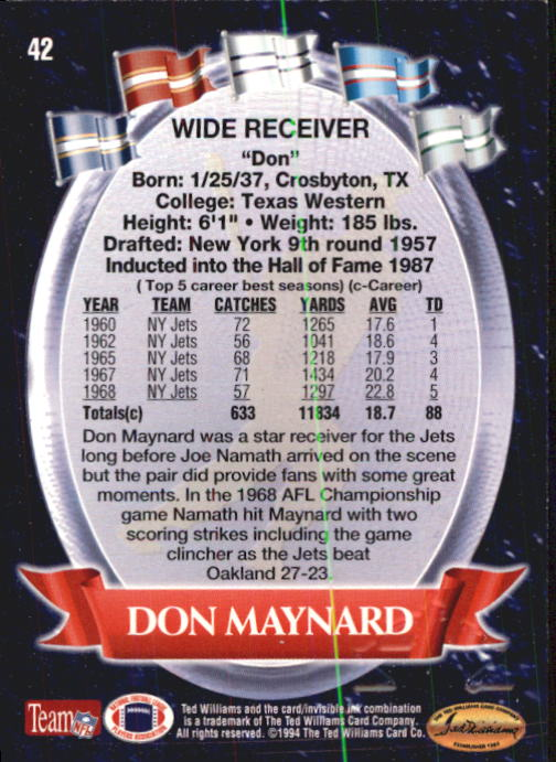 1994 Ted Williams #42 Don Maynard back image