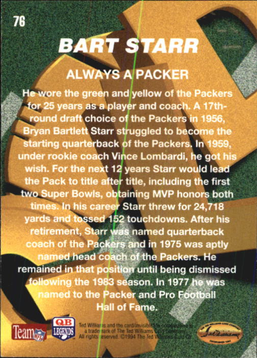 1994 Ted Williams #76 Bart Starr back image