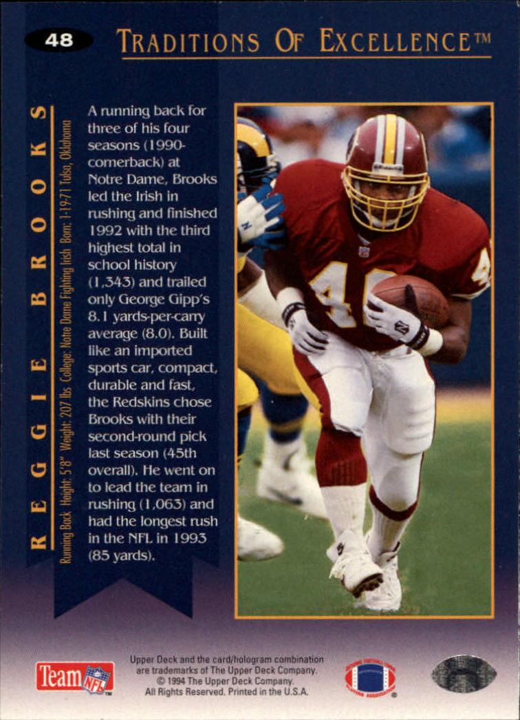 1994 Collector's Choice #48 Reggie Brooks TE back image
