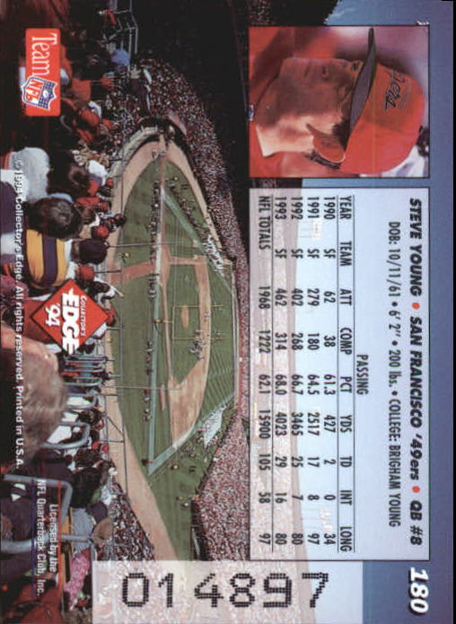 1994 Collector's Edge Pop Warner 22K Gold #180 Steve Young back image