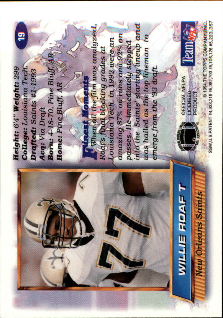 1994 Finest #19 Willie Roaf back image