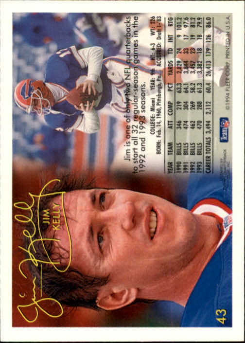 1994 Fleer #43 Jim Kelly back image