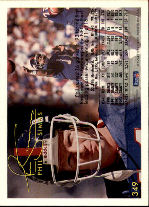 1994 Fleer #349 Phil Simms back image