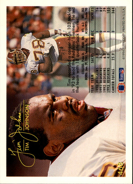 1994 Fleer #468 Tim Johnson back image