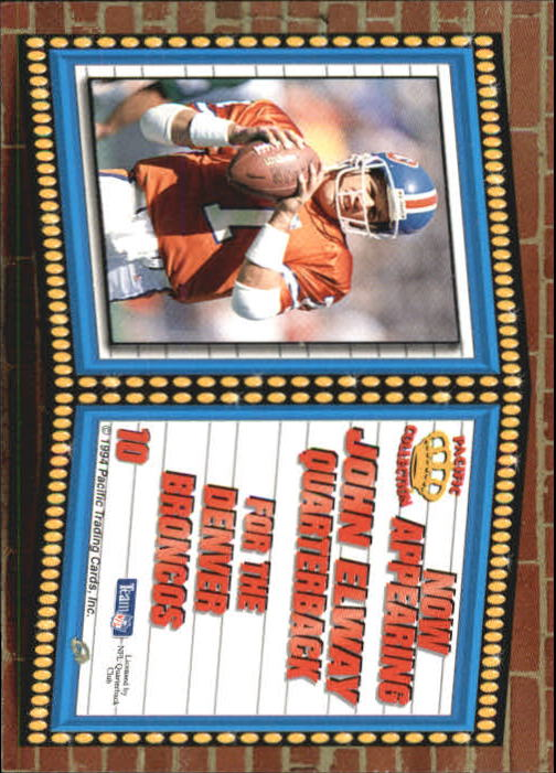 1994 Pacific Marquee Prisms Gold #10 John Elway back image