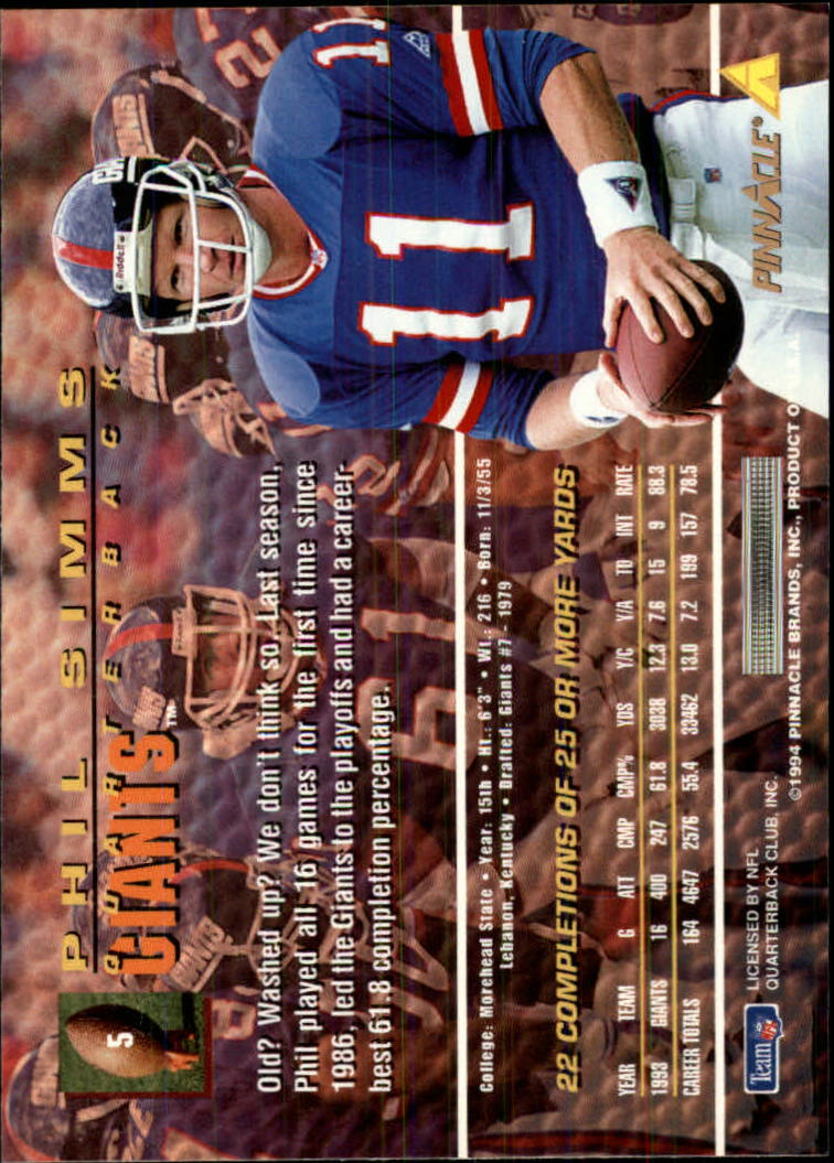 1994 Pinnacle #5 Phil Simms back image