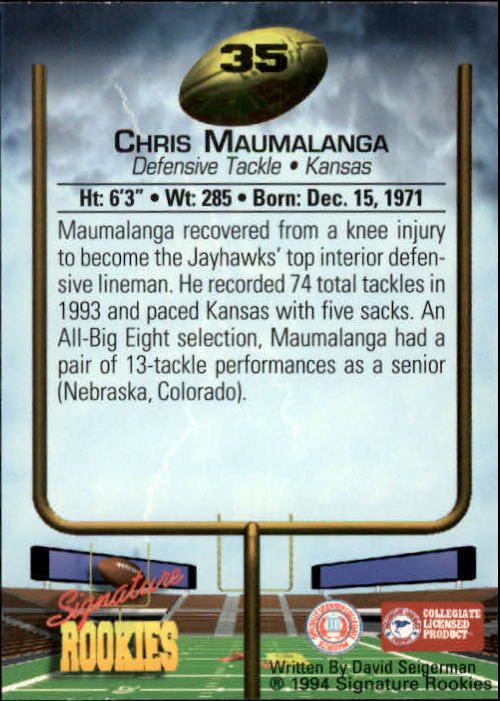 1994 Signature Rookies #35 Chris Maumalanga back image