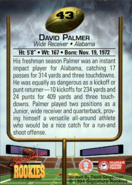 1994 Signature Rookies #43 David Palmer back image