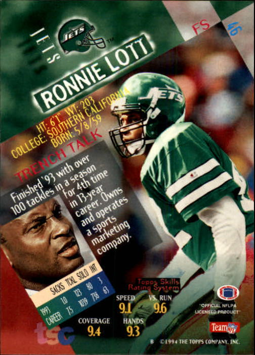 1994 Stadium Club #46 Ronnie Lott back image