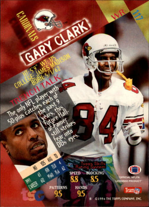 1994 Stadium Club #117 Gary Clark back image