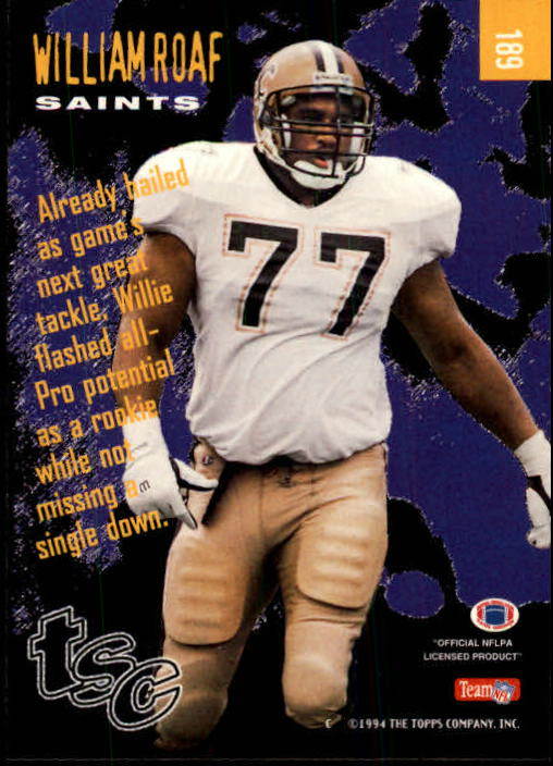 1994 Stadium Club #189 Willie Roaf GE back image