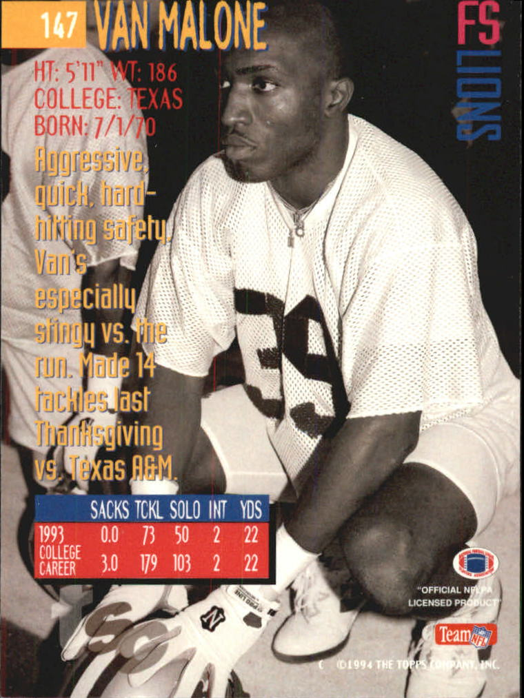 1994 Stadium Club First Day #147 Van Malone