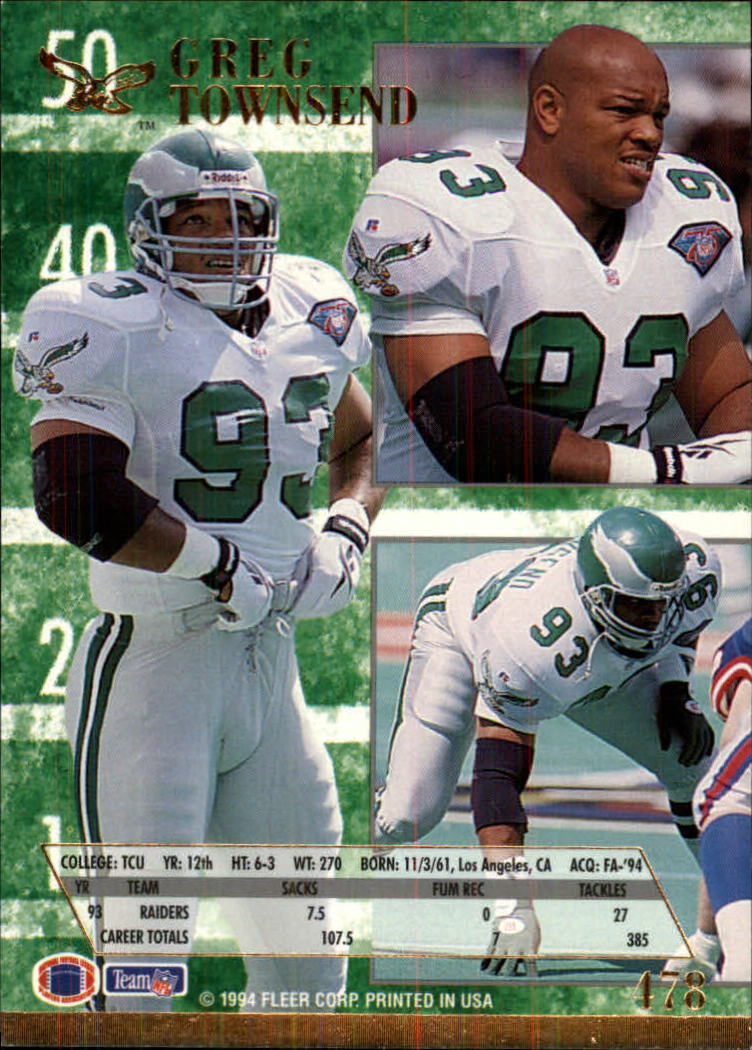 1994 Ultra #478 Greg Townsend back image